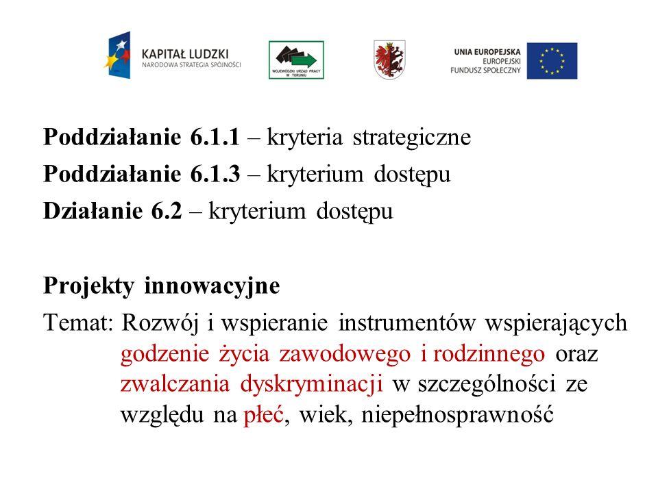 Poddziałanie 6.1.1 – kryteria strategiczne Poddziałanie 6.1.3 – kryterium dostępu Działanie 6.2 – kryterium dostępu Projekty innowacyjne Temat: Rozwój