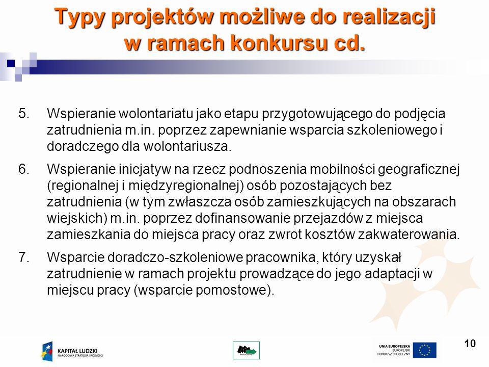 10 Typy projektów możliwe do realizacji w ramach konkursu cd. 5.Wspieranie wolontariatu jako etapu przygotowującego do podjęcia zatrudnienia m.in. pop