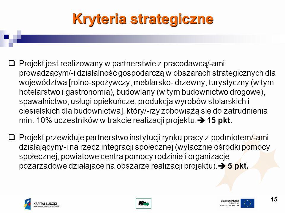 15 Projekt jest realizowany w partnerstwie z pracodawcą/-ami prowadzącym/-i działalność gospodarczą w obszarach strategicznych dla województwa [rolno-
