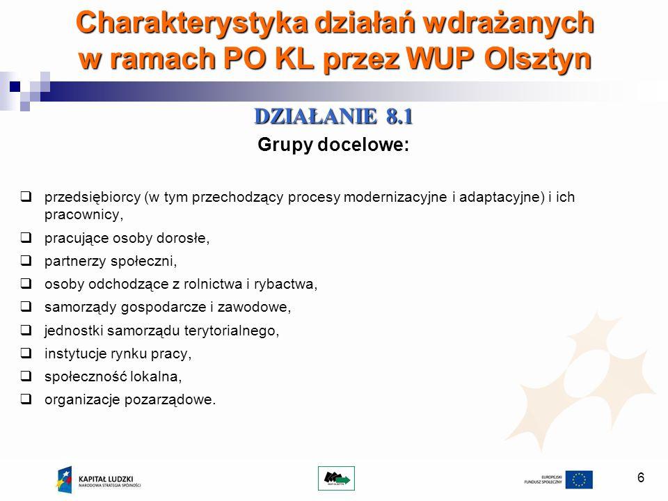 6 Charakterystyka działań wdrażanych w ramach PO KL przez WUP Olsztyn DZIAŁANIE 8.1 Grupy docelowe: przedsiębiorcy (w tym przechodzący procesy moderni