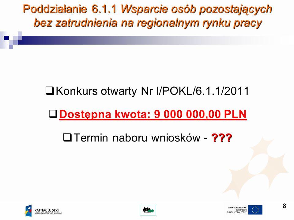 8 Poddziałanie 6.1.1 Wsparcie osób pozostających bez zatrudnienia na regionalnym rynku pracy Konkurs otwarty Nr I/POKL/6.1.1/2011 Dostępna kwota: 9 00