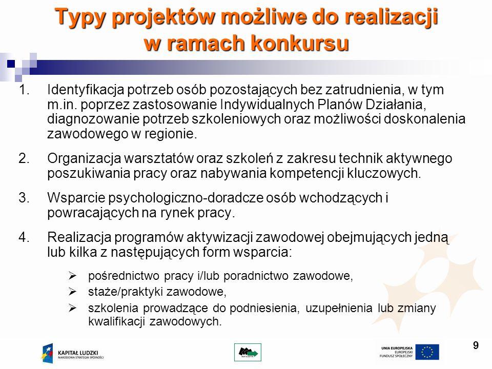 9 Typy projektów możliwe do realizacji w ramach konkursu 1.Identyfikacja potrzeb osób pozostających bez zatrudnienia, w tym m.in. poprzez zastosowanie