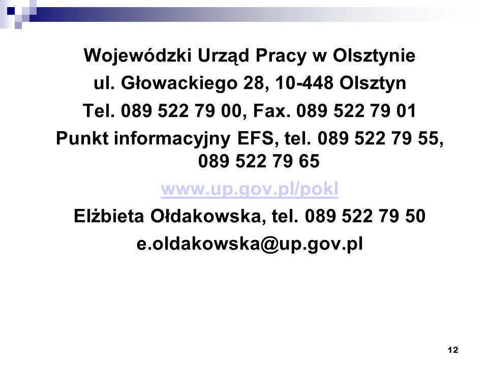 12 Wojewódzki Urząd Pracy w Olsztynie ul.Głowackiego 28, 10-448 Olsztyn Tel.