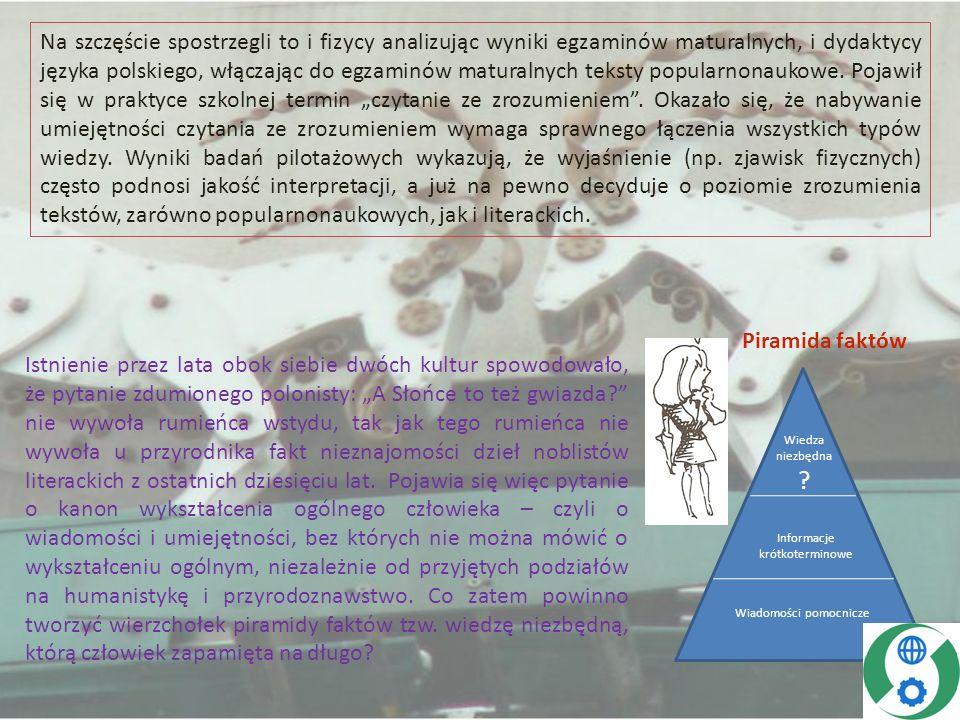 Można założyć, że wierzchołek tej piramidy powinien zawierać elementy wiedzy przyrodniczej występujące w literaturze pięknej (np.