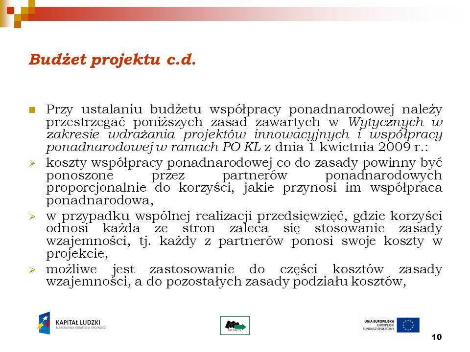10 Budżet projektu c.d.