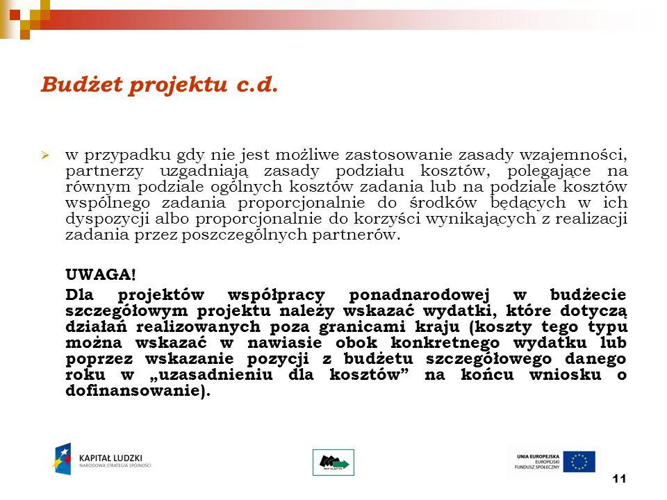 11 Budżet projektu c.d.