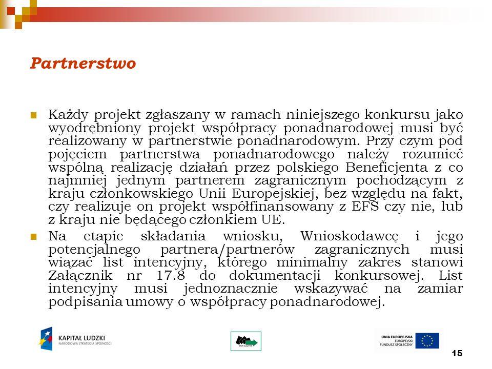 15 Partnerstwo Każdy projekt zgłaszany w ramach niniejszego konkursu jako wyodrębniony projekt współpracy ponadnarodowej musi być realizowany w partnerstwie ponadnarodowym.