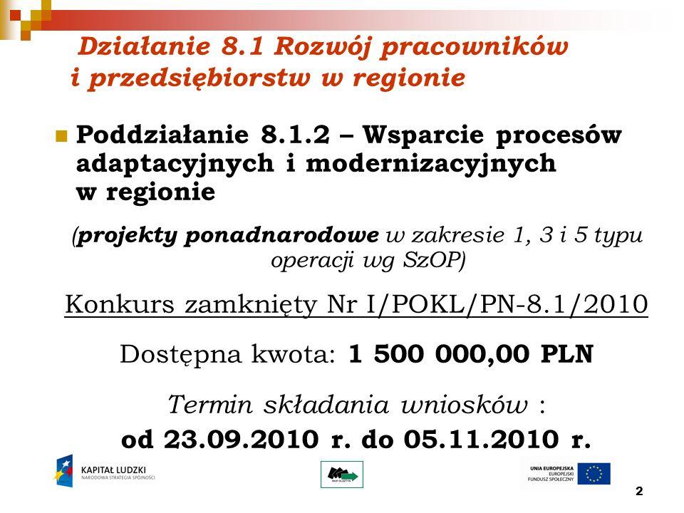 2 Działanie 8.1 Rozwój pracowników i przedsiębiorstw w regionie Poddziałanie 8.1.2 – Wsparcie procesów adaptacyjnych i modernizacyjnych w regionie ( projekty ponadnarodowe w zakresie 1, 3 i 5 typu operacji wg SzOP) Konkurs zamknięty Nr I/POKL/PN-8.1/2010 Dostępna kwota: 1 500 000,00 PLN Termin składania wniosków : od 23.09.2010 r.