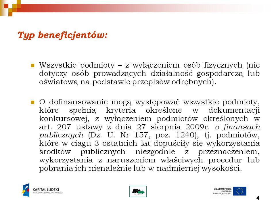 4 Typ beneficjentów: Wszystkie podmioty – z wyłączeniem osób fizycznych (nie dotyczy osób prowadzących działalność gospodarczą lub oświatową na podstawie przepisów odrębnych).