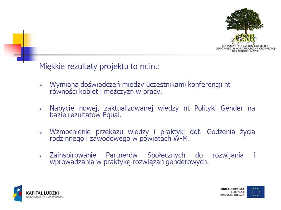 Miękkie rezultaty projektu to m.in.: Wymiana doświadczeń między uczestnikami konferencji nt równości kobiet i mężczyzn w pracy. Nabycie nowej, zaktual