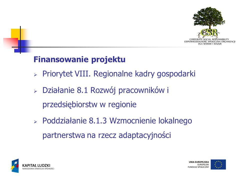 Finansowanie projektu Priorytet VIII. Regionalne kadry gospodarki Działanie 8.1 Rozwój pracowników i przedsiębiorstw w regionie Poddziałanie 8.1.3 Wzm