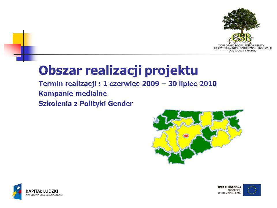 Obszar realizacji projektu Termin realizacji : 1 czerwiec 2009 – 30 lipiec 2010 Kampanie medialne Szkolenia z Polityki Gender