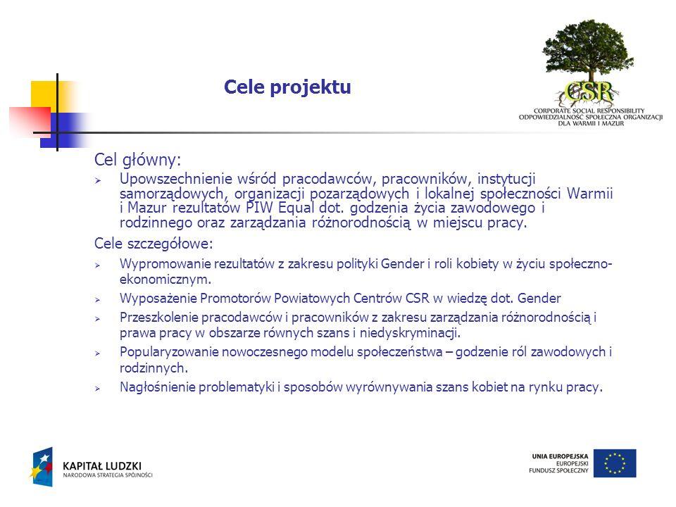 Cel główny: Upowszechnienie wśród pracodawców, pracowników, instytucji samorządowych, organizacji pozarządowych i lokalnej społeczności Warmii i Mazur