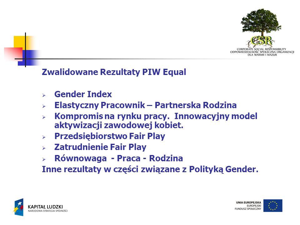 Zwalidowane Rezultaty PIW Equal Gender Index Elastyczny Pracownik – Partnerska Rodzina Kompromis na rynku pracy. Innowacyjny model aktywizacji zawodow