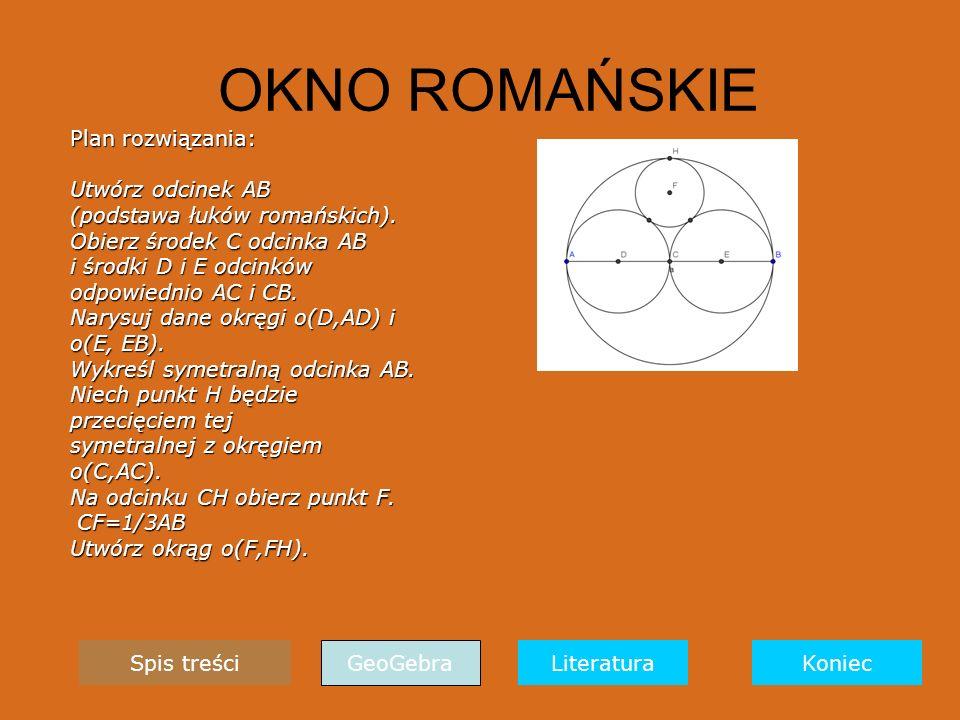 OKNO ROMAŃSKIE Plan rozwiązania: Utwórz odcinek AB (podstawa łuków romańskich).