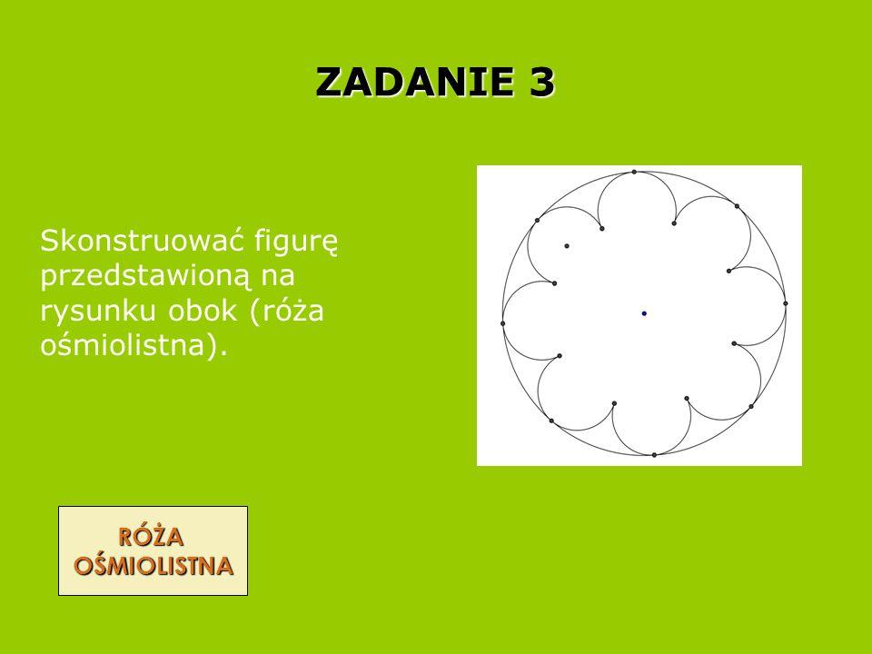 ZADANIE 3 RÓŻA OŚMIOLISTNA Skonstruować figurę przedstawioną na rysunku obok (róża ośmiolistna).