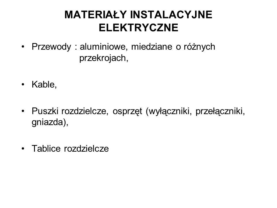 MATERIAŁY INSTALACYJNE ELEKTRYCZNE Przewody : aluminiowe, miedziane o różnych przekrojach, Kable, Puszki rozdzielcze, osprzęt (wyłączniki, przełącznik