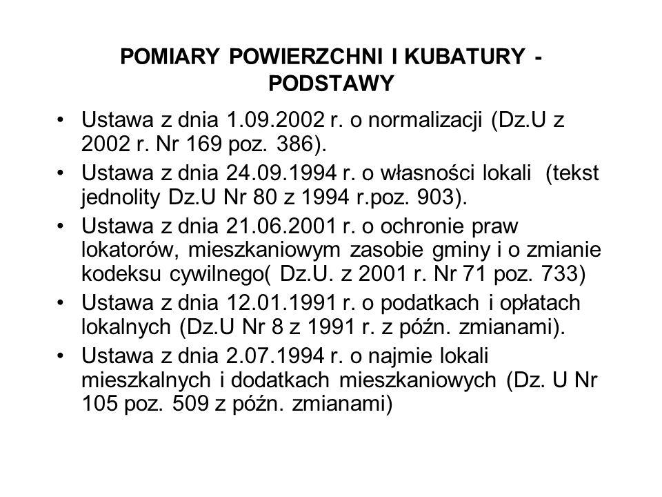 POMIARY POWIERZCHNI I KUBATURY - PODSTAWY Ustawa z dnia 1.09.2002 r. o normalizacji (Dz.U z 2002 r. Nr 169 poz. 386). Ustawa z dnia 24.09.1994 r. o wł