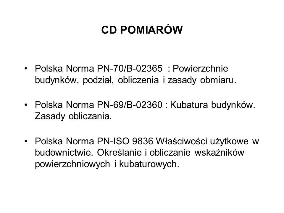 CD POMIARÓW Polska Norma PN-70/B-02365 : Powierzchnie budynków, podział, obliczenia i zasady obmiaru. Polska Norma PN-69/B-02360 : Kubatura budynków.