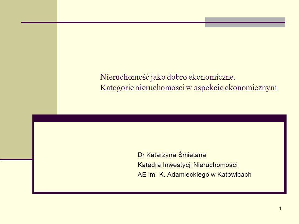 1 Nieruchomość jako dobro ekonomiczne. Kategorie nieruchomości w aspekcie ekonomicznym Dr Katarzyna Śmietana Katedra Inwestycji Nieruchomości AE im. K