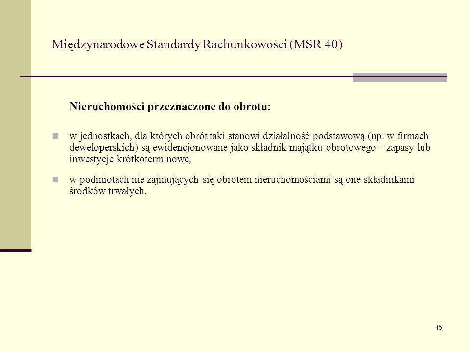 15 Międzynarodowe Standardy Rachunkowości (MSR 40) Nieruchomości przeznaczone do obrotu: w jednostkach, dla których obrót taki stanowi działalność pod