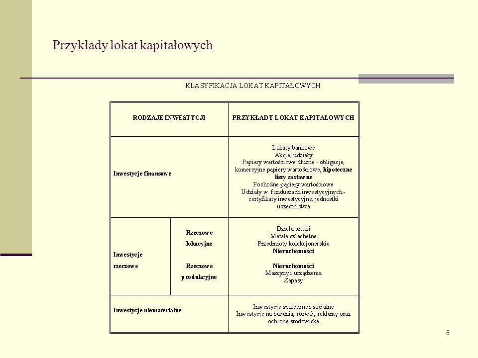 17 Kryterium podmiotowe w powiązaniu z kryterium ekonomicznego sposobu wykorzystania nieruchomości Gospodarstwa domowe Nieruchomości operacyjne i inwestycyjne Gospodarstwa rolne Nieruchomości operacyjne i inwestycyjne Przedsiębiorstwa Nieruchomości operacyjne i inwestycyjne, zapasy nieruchomości Fundusze inwestycyjne Nieruchomości inwestycyjne Podmioty publiczne Nieruchomości operacyjne i inwestycyjne