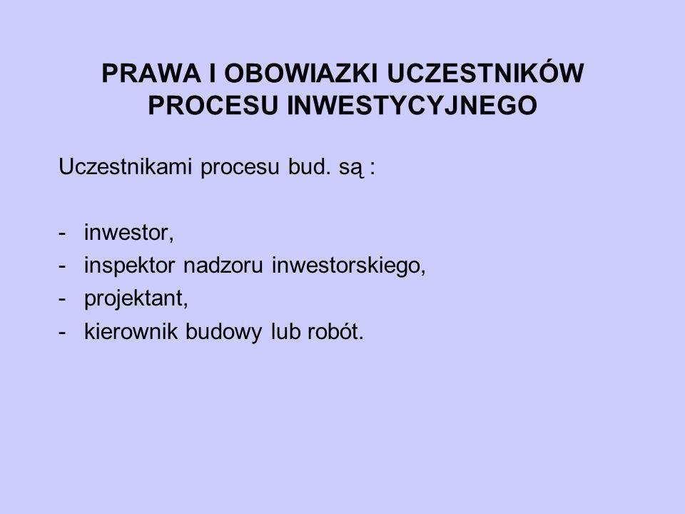 PRAWA I OBOWIAZKI UCZESTNIKÓW PROCESU INWESTYCYJNEGO Uczestnikami procesu bud. są : -inwestor, -inspektor nadzoru inwestorskiego, -projektant, -kierow