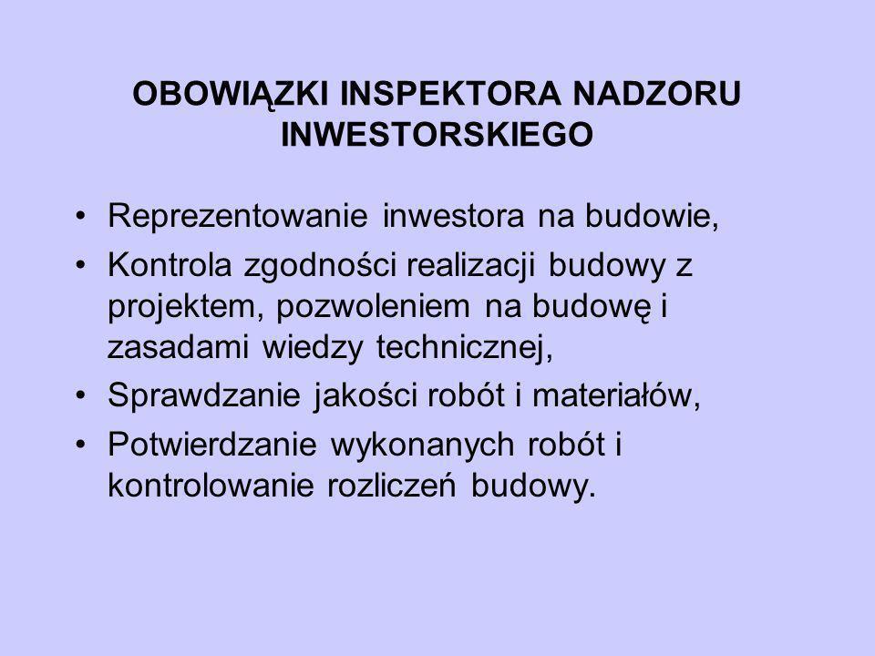 OBOWIĄZKI INSPEKTORA NADZORU INWESTORSKIEGO Reprezentowanie inwestora na budowie, Kontrola zgodności realizacji budowy z projektem, pozwoleniem na bud