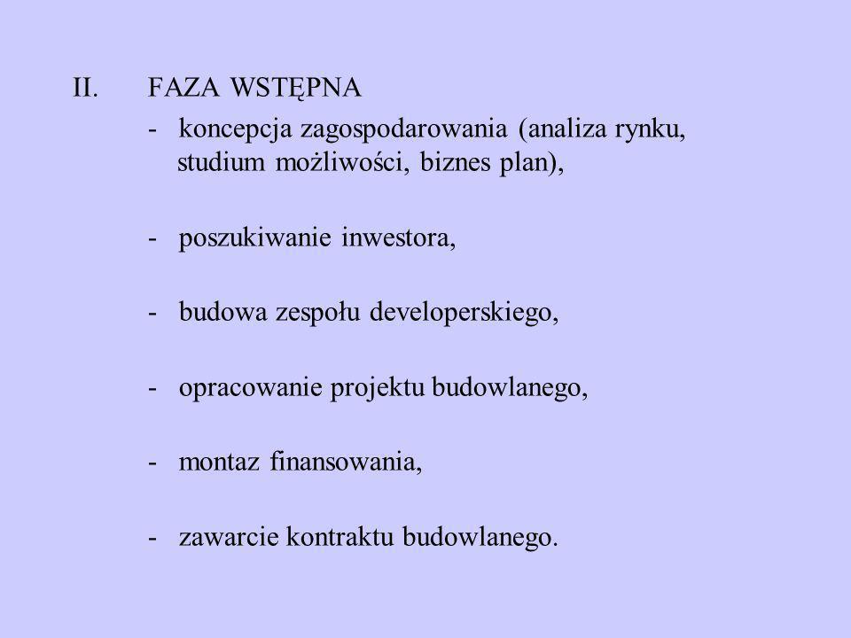 II.FAZA WSTĘPNA - koncepcja zagospodarowania (analiza rynku, studium możliwości, biznes plan), - poszukiwanie inwestora, - budowa zespołu developerski