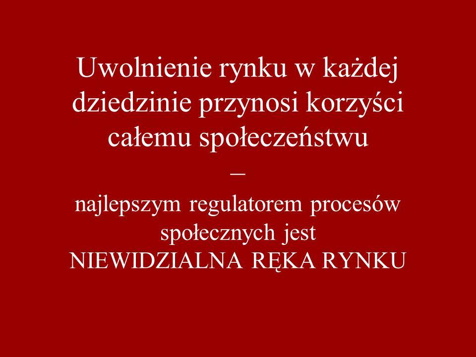 Uwolnienie rynku w każdej dziedzinie przynosi korzyści całemu społeczeństwu – najlepszym regulatorem procesów społecznych jest NIEWIDZIALNA RĘKA RYNKU