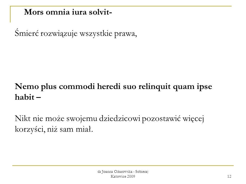 dr Joanna Ożarowska - Sobieraj Katowice 2009 12 Mors omnia iura solvit- Śmierć rozwiązuje wszystkie prawa, Nemo plus commodi heredi suo relinquit quam