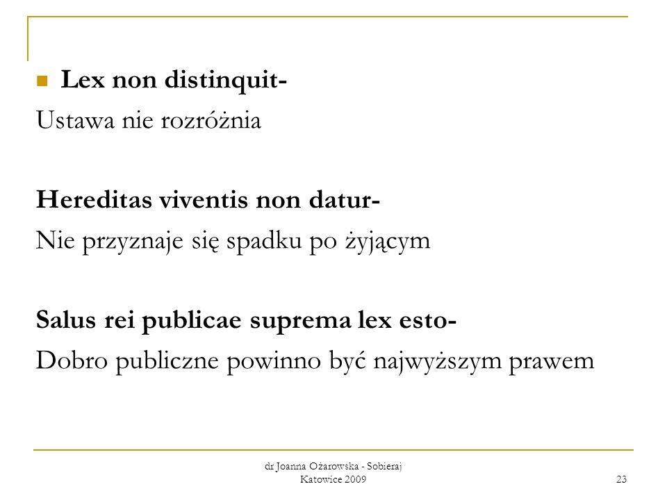 Lex non distinquit- Ustawa nie rozróżnia Hereditas viventis non datur- Nie przyznaje się spadku po żyjącym Salus rei publicae suprema lex esto- Dobro