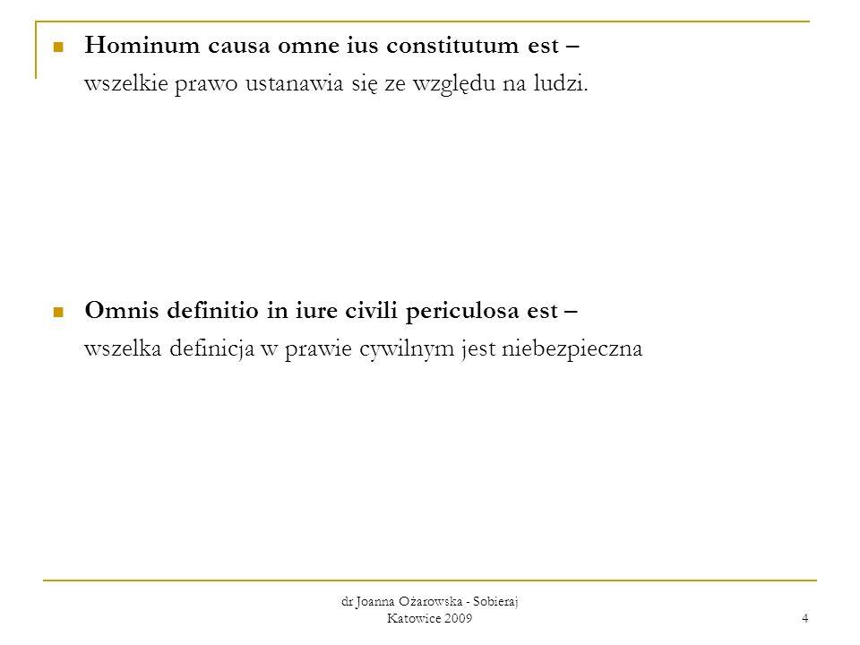 dr Joanna Ożarowska - Sobieraj Katowice 2009 4 Hominum causa omne ius constitutum est – wszelkie prawo ustanawia się ze względu na ludzi. Omnis defini