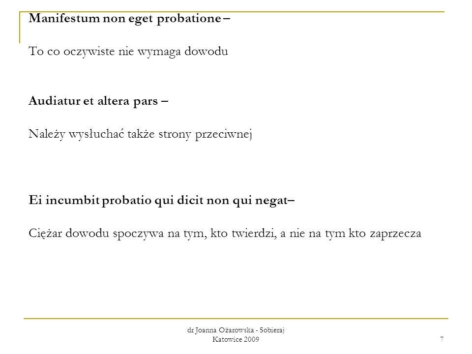 dr Joanna Ożarowska - Sobieraj Katowice 2009 7 Manifestum non eget probatione – To co oczywiste nie wymaga dowodu Audiatur et altera pars – Należy wys
