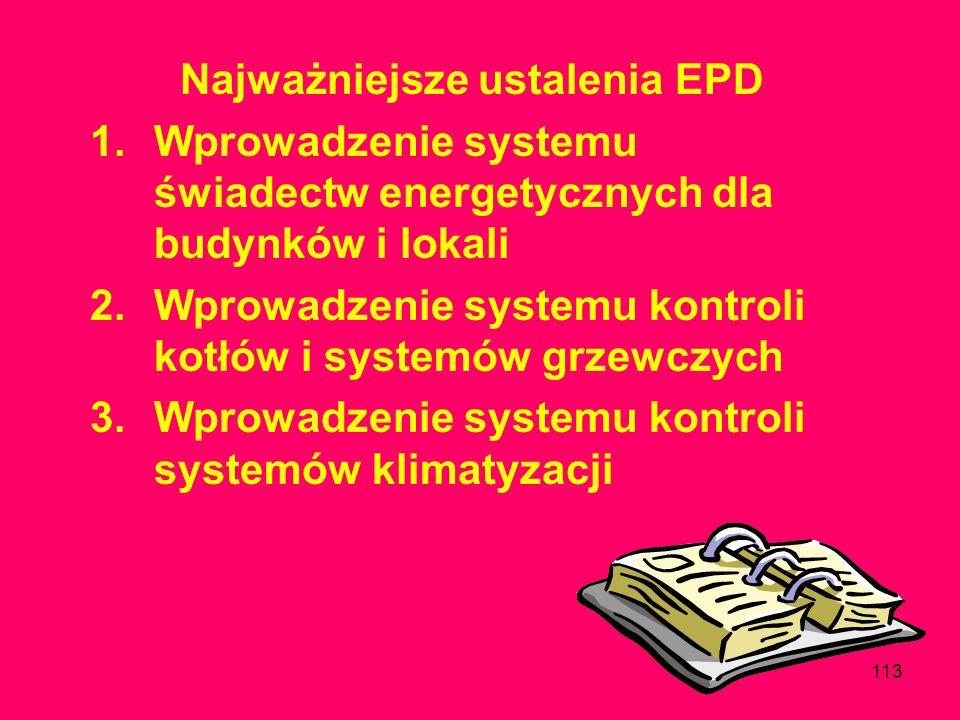 112 Dyrektywa nr 2002/91 EC z 16 grudnia 2002 w sprawie charakterystyki energetycznej budynków, miała wejść w życie 4 stycznia 2006 r.