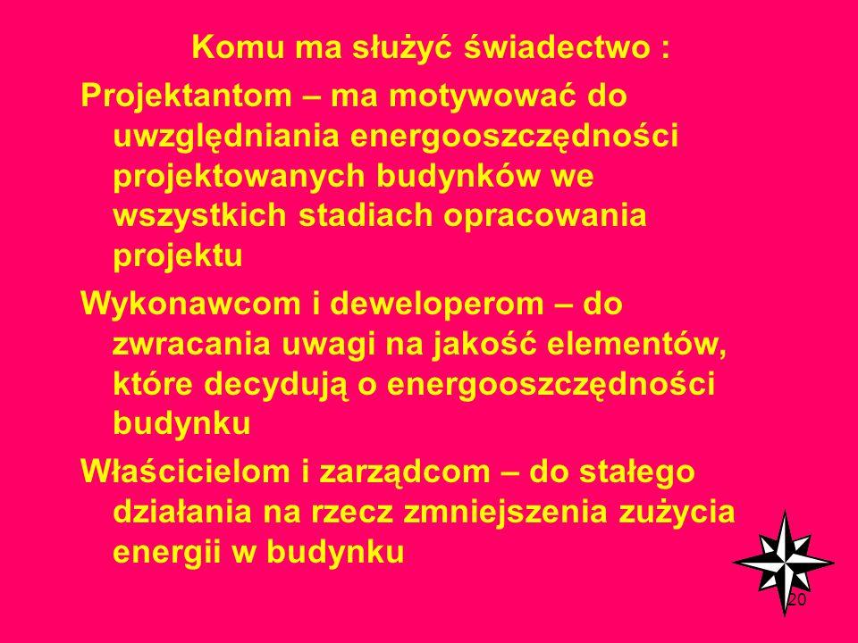 119 Klasa energetyczna budynku Wartość zintegrowanego wskaźnika charakterystyki energetycznej WZE A1WZE<=0,3 A20,3< WZE <=0,5 B10,5< WZE <=0,7 B20,7<