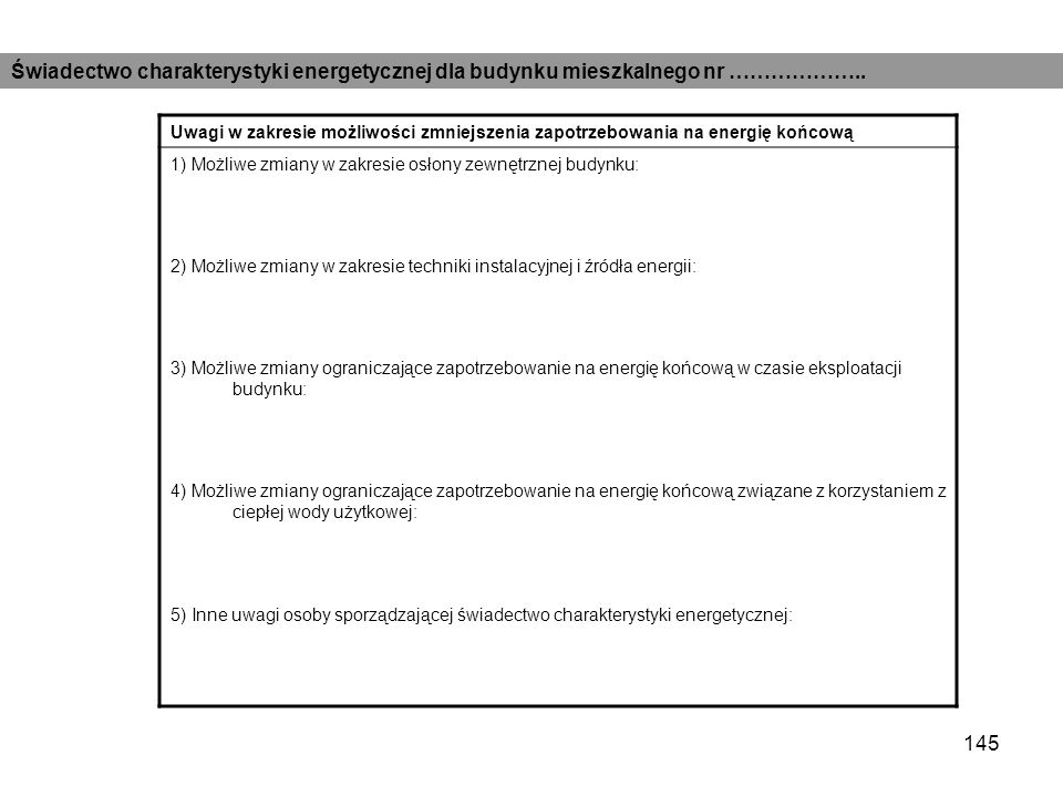 144 Obliczeniowe zapotrzebowanie na energie Roczne jednostkowe zapotrzebowanie na energie końcową [kWh/(m2rok)] Nośnik energiiOgrzewanie i wentylacja