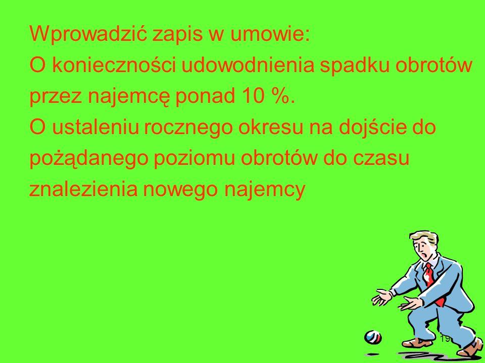 198 1.Dotrzymanie kroku sąsiadom Najemca, życzy sobie prawa do zerwania umowy najmu w sytuacji, gdy jeden z głównych najemców zakończy działalność lub