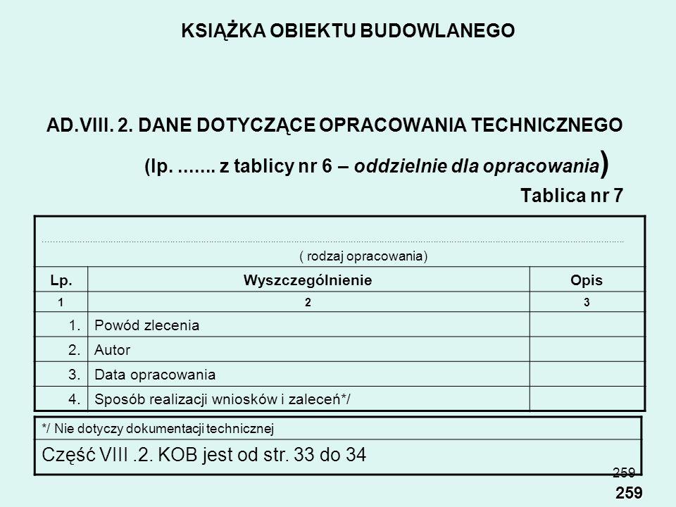 258 KSIĄŻKA OBIEKTU BUDOWLANEGO do tablic nr 6 i 7 należy wpisywać także wszystkie opracowania techniczne, inwentaryzacje oraz dokumentacje techniczne