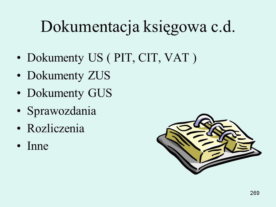 268 Dokumentacja księgowa Księgi handlowe Faktury sprzedaży Faktury zakupu Dokumenty kasowe Dokumenty bankowe Plany zarządzania Preliminarze budżetu