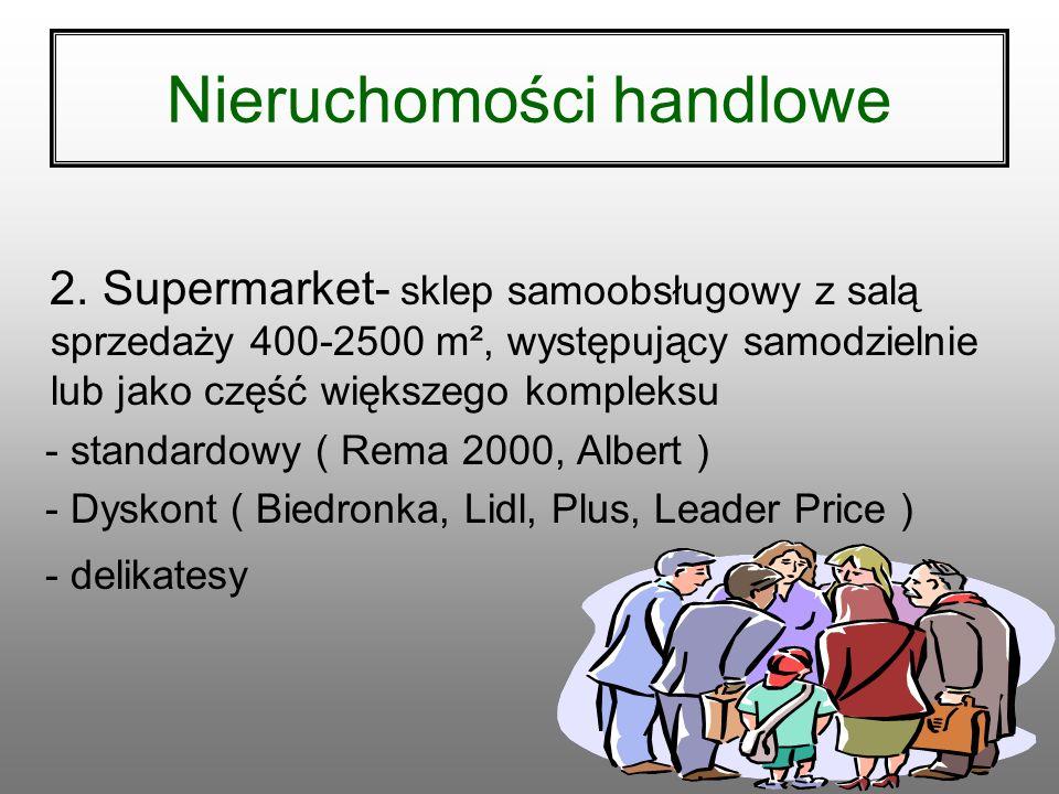 322 Nieruchomości handlowe 1. Centrum handlowe - I generacji: duży supermarket + mała galeria handlowa - II generacji: większa galeria handlowa - III