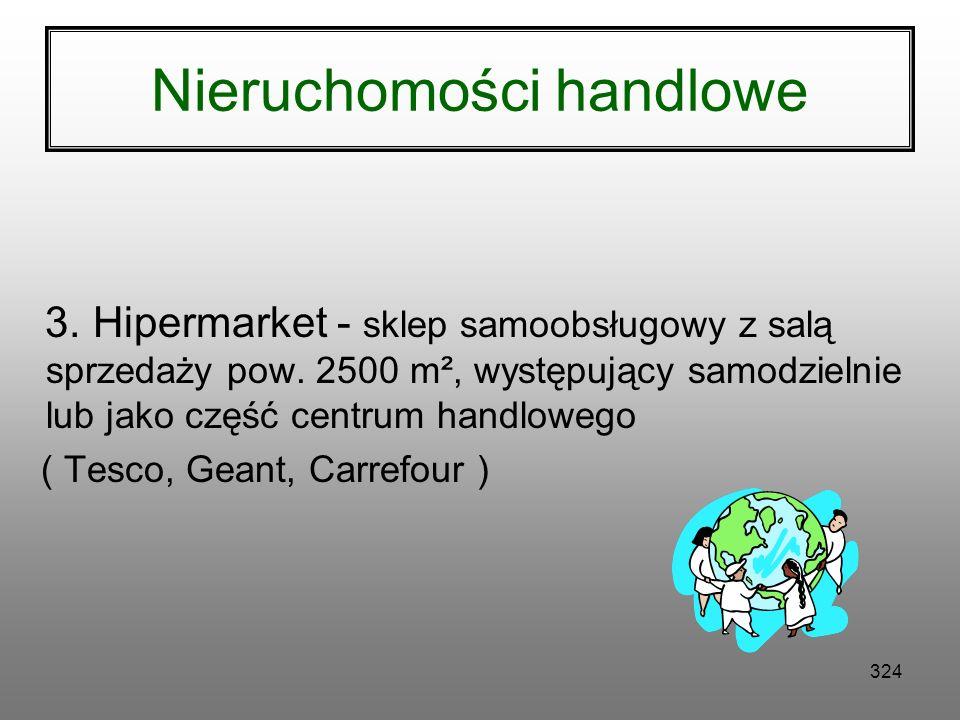 323 Nieruchomości handlowe 2. Supermarket- sklep samoobsługowy z salą sprzedaży 400-2500 m², występujący samodzielnie lub jako część większego komplek