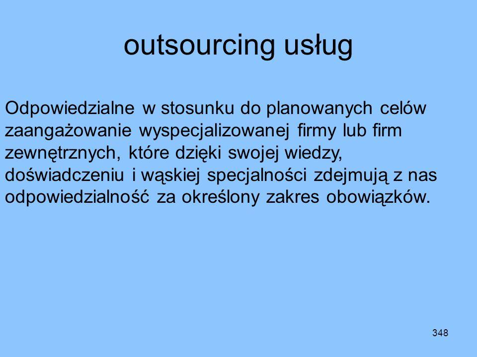 347 zlecenie funkcji Najprostszy rodzaj outsourcingu. Polega na zamówieniu w innej firmie nieskomplikowanych usług pomocniczych. Najczęściej są to dzi