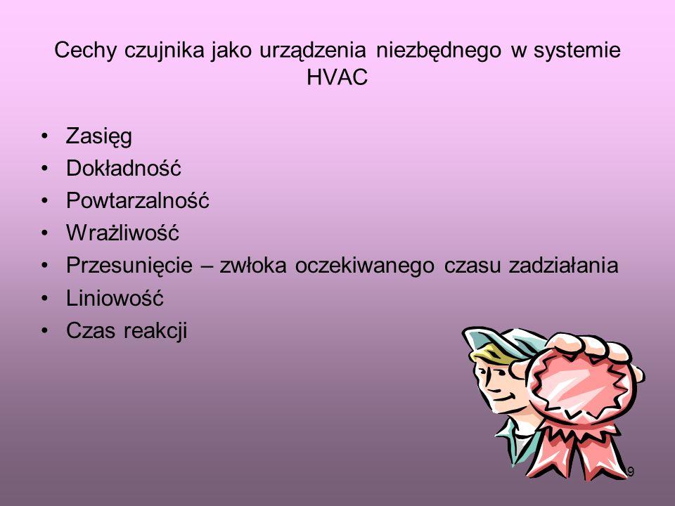 38 Niezbędnym urządzeniem w systemie HVAC są czujniki, czyli urządzenia przetwarzające wielkości fizyczne ( temperaturę, wilgotność ) na inne wielkośc