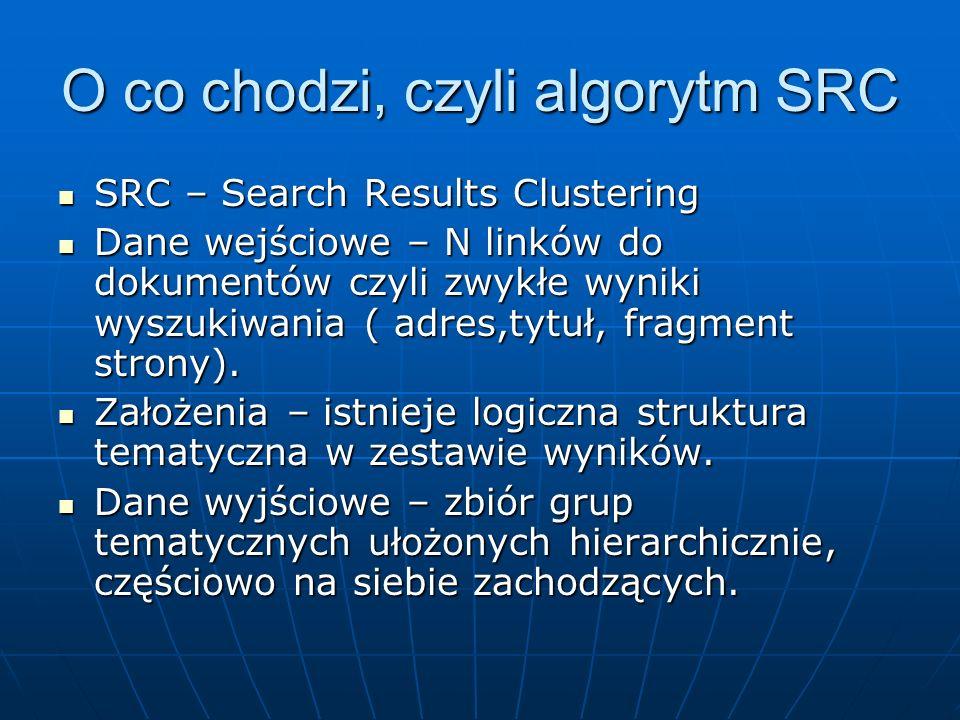 O co chodzi, czyli algorytm SRC SRC – Search Results Clustering SRC – Search Results Clustering Dane wejściowe – N linków do dokumentów czyli zwykłe w
