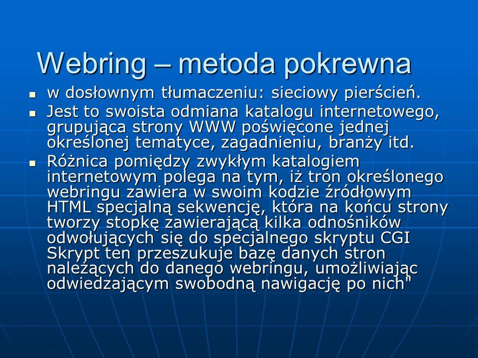 Webring – metoda pokrewna w dosłownym tłumaczeniu: sieciowy pierścień. w dosłownym tłumaczeniu: sieciowy pierścień. Jest to swoista odmiana katalogu i