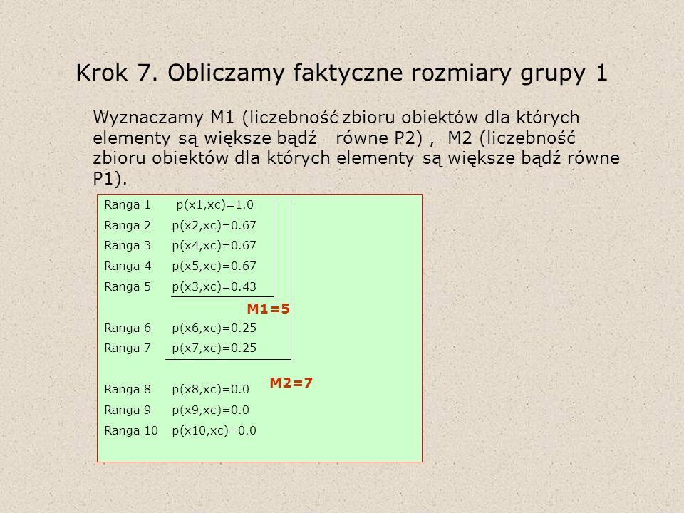 Krok 7. Obliczamy faktyczne rozmiary grupy 1 Wyznaczamy M1 (liczebność zbioru obiektów dla których elementy są większe bądź równe P2), M2 (liczebność