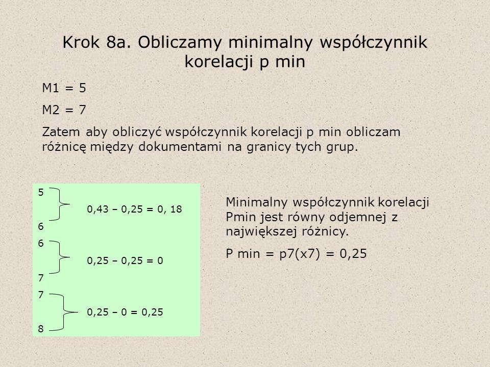 Krok 8a. Obliczamy minimalny współczynnik korelacji p min M1 = 5 M2 = 7 Zatem aby obliczyć współczynnik korelacji p min obliczam różnicę między dokume