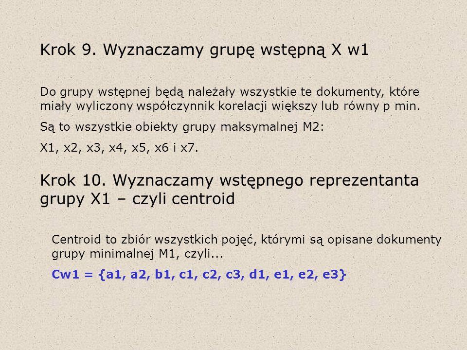 Krok 9. Wyznaczamy grupę wstępną X w1 Do grupy wstępnej będą należały wszystkie te dokumenty, które miały wyliczony współczynnik korelacji większy lub