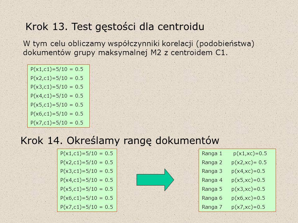 P(x1,c1)=5/10 = 0.5 P(x2,c1)=5/10 = 0.5 P(x3,c1)=5/10 = 0.5 P(x4,c1)=5/10 = 0.5 P(x5,c1)=5/10 = 0.5 P(x6,c1)=5/10 = 0.5 P(x7,c1)=5/10 = 0.5 Krok 13. T